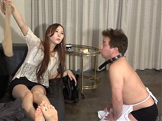 Japanese Femdom Risa Foot Fetish Pantyhose and Food Messy