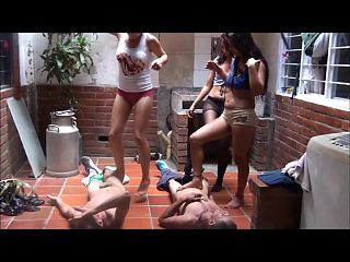 3 Latina girls trample the nuts of 2 guys