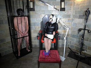 Miss Terie Plays Stop and Go with her CFNM Femdom Caged Slave
