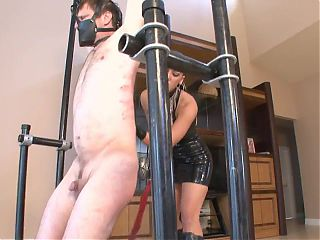 Mistress with Latex Dress whips male slave hard