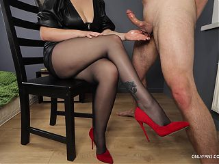 Teen and school teacher after work, femdom handjob in pantyhose