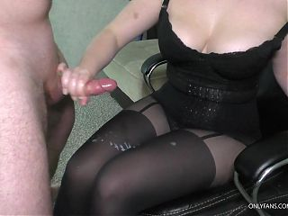 Teen Stepsister Gives Femdom Handjob on legs in Pantyhose
