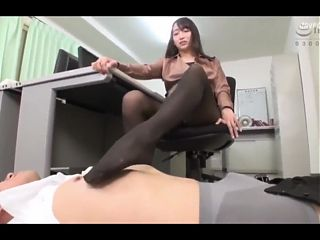 After hours pantyhose footjob for office boy