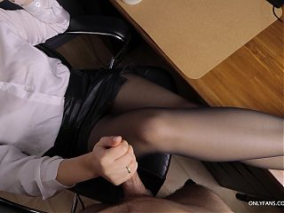 Teen Secretary with big tits gives handjob on her pantyhose in office2