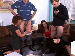 Kinky British dommes compare tiny cocks in erotic group sex session