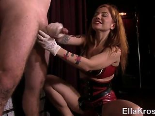 Hot Femdom Handjob while restrained