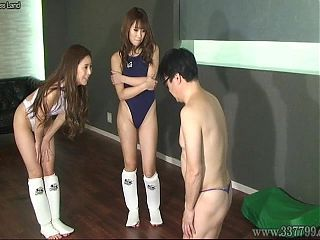 Femdom who services kick ballbusting to a man