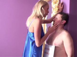 slave joschi get slap and spit by tall princess helena