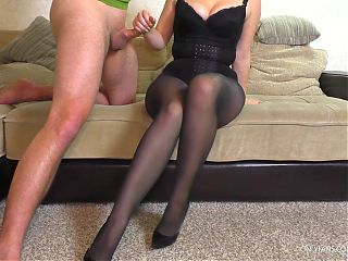 Teen School Teacher Pantyhose Tease and Handjob Cum on Legs