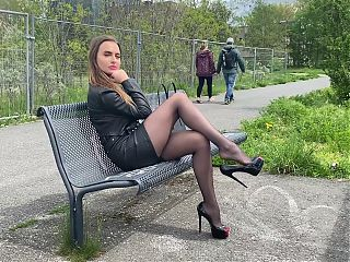 Walking High Heels Pantyhose Legs