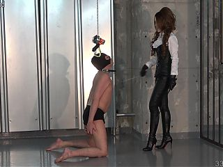 Japanese femdom dominates a slave using his face as a chair