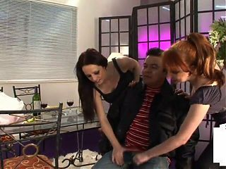 CFNM dominatrices wanking micro dick loser in this erotic group scene