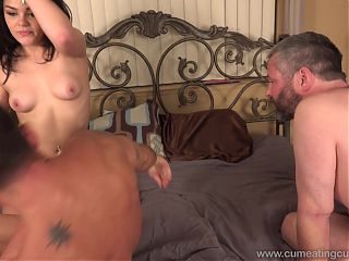Cuck cleans wife, enjoys her lover