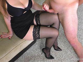 Teen School Teacher asked Cum on her Stockings After School