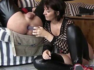 She fucks her boyfriend with a sex toy