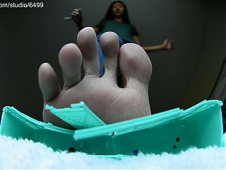Sexy Giant Brunette Bare Foot Crushing Toy - Giantess Fetish
